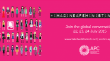 Pink poster for second #ImagineAFeministInternet. A grid of pixellated non-binary and women characters on the left with text of the meeting details on the right